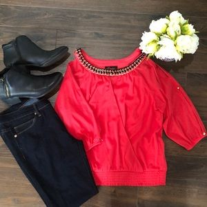 Tops - Coral Cold-Shoulder Blouse- size Small